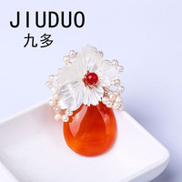 JIUDUO Natural freshwater pearl brooch bowknot real pearl brooch pins fashion women jewelry Natural freshwater pearl XZ78