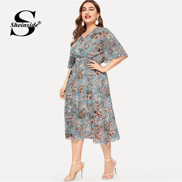 Sheinside Plus Size Elegant Floral Print Chiffon Dress Women 2019 Summer V Neck Elastic Waist Dresses Ladies Straight Midi Dress 2