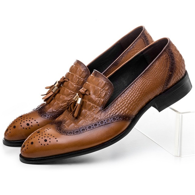 Crocodile Grain Brown Black Loafers Mens Casual Shoes Genuine