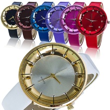 Fashion Women s Casual Quartz Wrist Watch with Rhinestone Faux Leather Band W2E8D