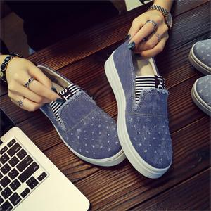Image 3 - New Flat Shoes Ladies School Canvas Casual Flat Soft And Comfortable Shoes Work Driving Shoes Classical Denim Fabric Lightweight