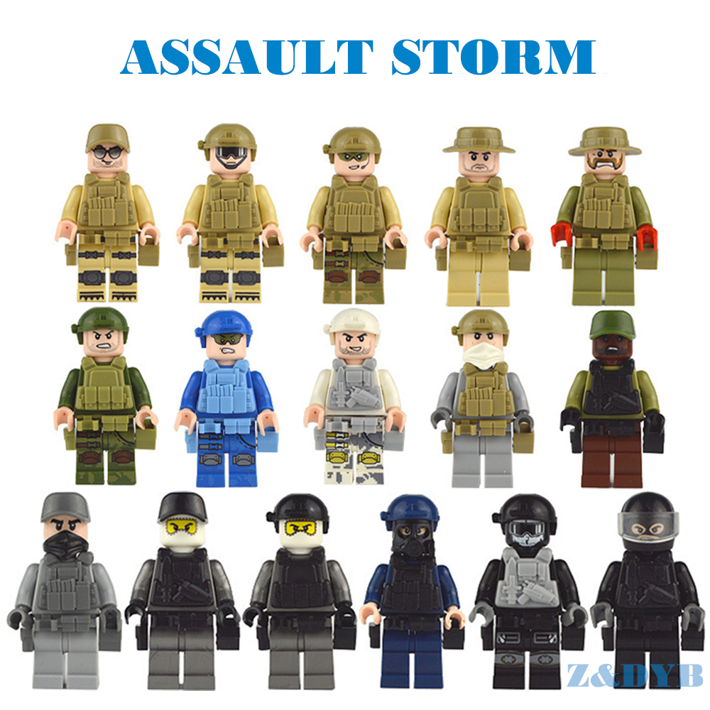16PCS/Lot Military Figures Series Soldiers Army Weapons Guns SWAT Police WW2 Model Building Block Brick legoed Toys For Children
