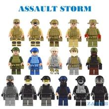 16 pçs/lote Série Figuras Militares Do Exército Soldados Armas Armas SWAT Polícia legoed WW2 Modelo Building Block Tijolo Brinquedos Para Crianças