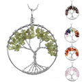 Handmade Wire Wrap Tree of Life Gems Chip Tree Pendant Craft for Necklace DIY Amethyst/Crystal/Olive/Green Aventurine Jade 47mm