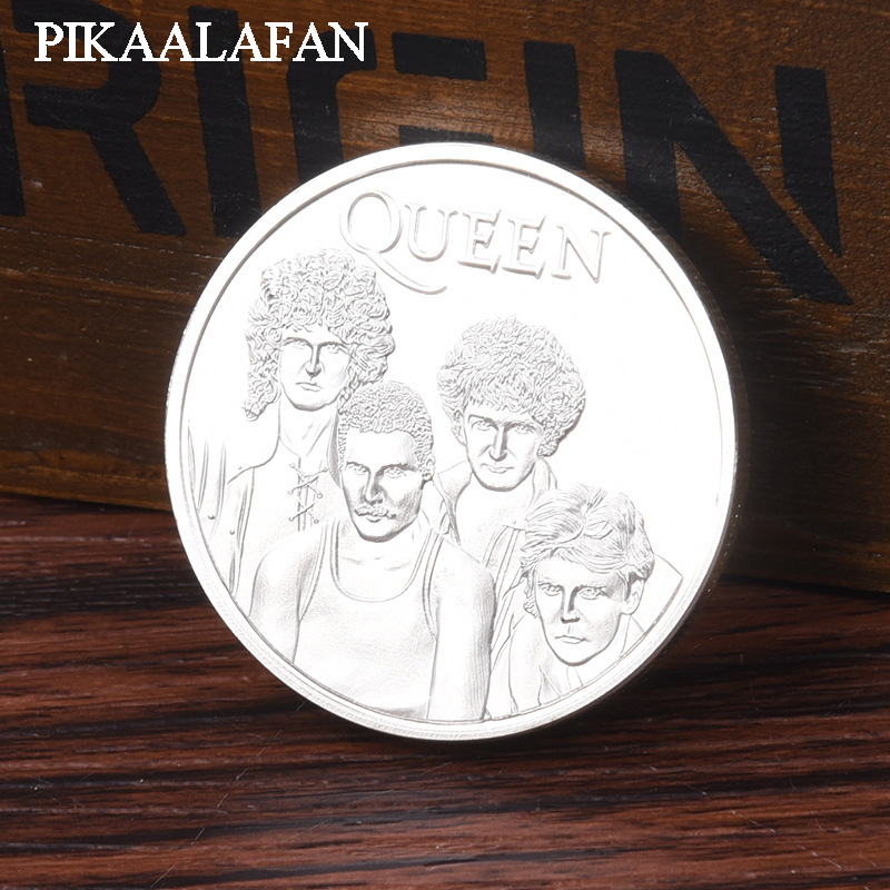 PIKAALAFAN American And European Star Queen Band Silver-Plated Commemorative COINS Rock Band Music Fans Collect Foreign COINS