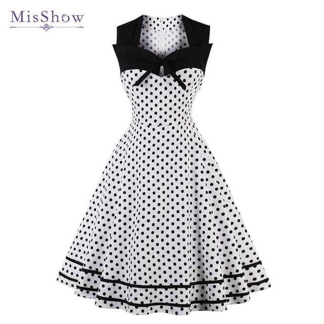 MisShow Summer Party Dot Printed Vintage Dresses 1950s Woman Dresses  Sleeveless 4XL Plus Size Robe Retro Rockabilly Dresses 14d4b68b3515