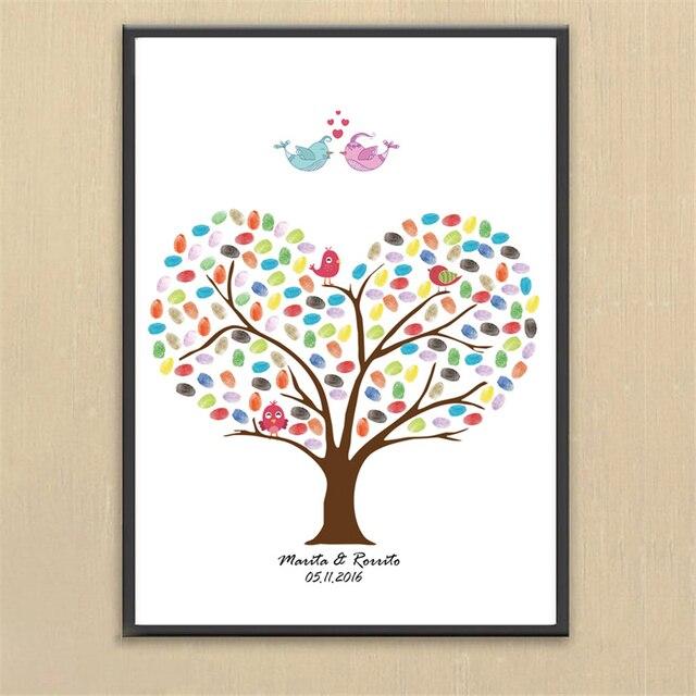 Diseño Europeo DIY boda dedo firma árbol sin marco romántico pintura ...