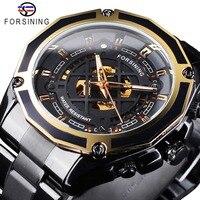 Forsining relógios transparentes design luminoso preto aço inoxidável homens esqueleto automático relógio de topo marca luxo montre homme|Relógios mecânicos| |  -