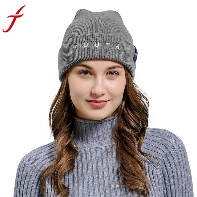 369c0ded1a76e Unisex YOUTH Letters Embroidered Beanie Hat Men Women Baggy Wool Ski Casual  Winter Vogue Knitted Hat Female Skullies Beanies