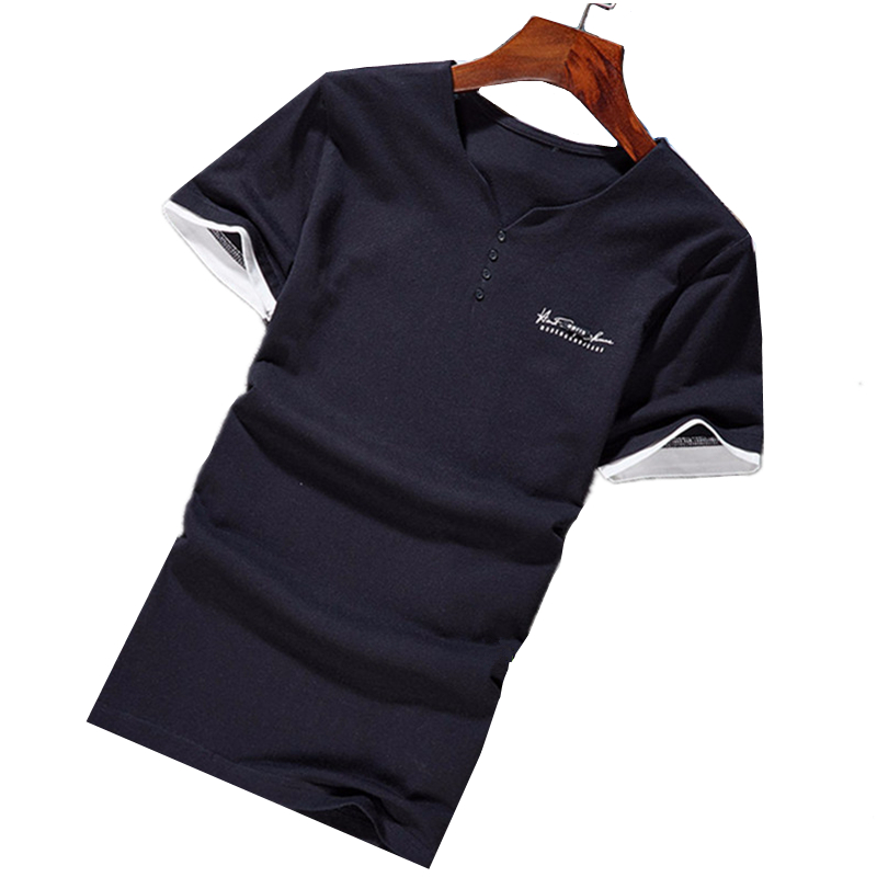 2018 summer fashion new mens boutique shor sleeve button design T-shirt / Mens cotton T-shirt tops