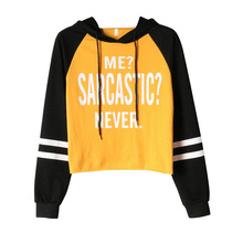 Spring New Hot Selling Womens Sports Sweaters Short Hooded Long Sleeve Letter Printed T-shirt Sportswear