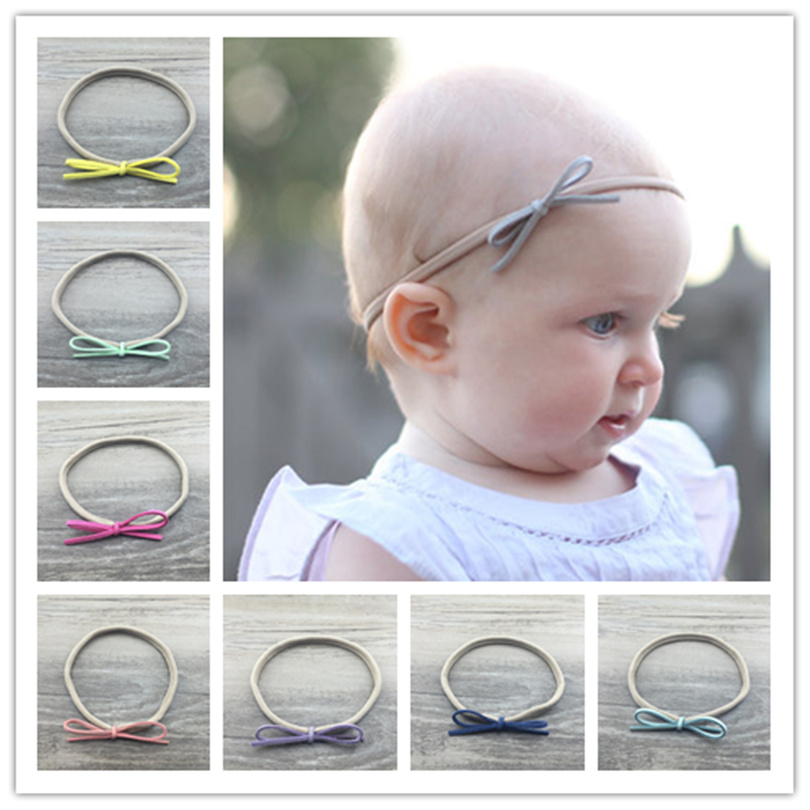 20pcs/lot Popular seamless flexible ring DIY bow children headband nylon hair Rope elastic Nylon Headband popular in europe and america children wear hair knotted cotton big bow tie children hair baby hair headband