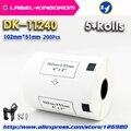 5 рулонов  совместимых DK-11240 этикеткой 102 мм * 51 мм 600 шт.  совместимых с принтером Brother Label QL-1050/1060  белая бумага DK-1240
