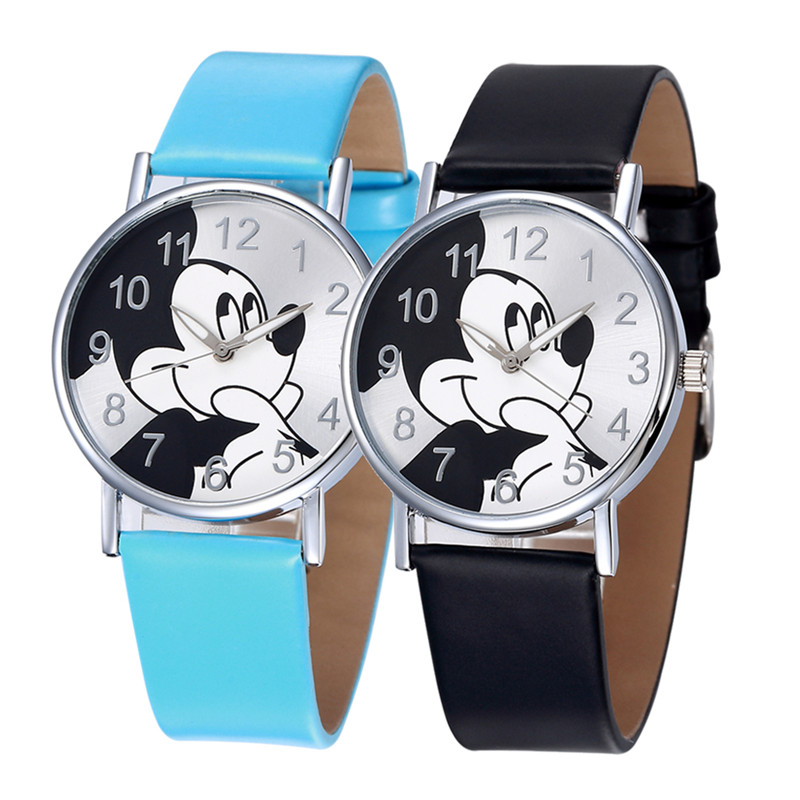 TMC#243 New Stylish Mickey Mouse Design Fashion Quartz Watches Leather Strap Wristwatch Clock For Girls Kids Hot Relogio
