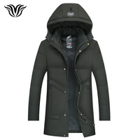 2018 winter new style Russian winter cold warm men's casual fashion hooded cotton coat long thick warm overcoat black green