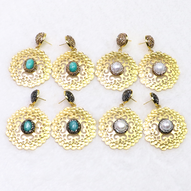 4 Pairs Wholesale jewelry earrings pave rhinestone round metal earrings mix color stone earrings Gift for