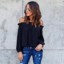 Women Off Shoulder Blouses Elegant Female Shirt Sexy Party Tops 2017 Girls Long Sleeve Blouse Black Blusas WS2796X
