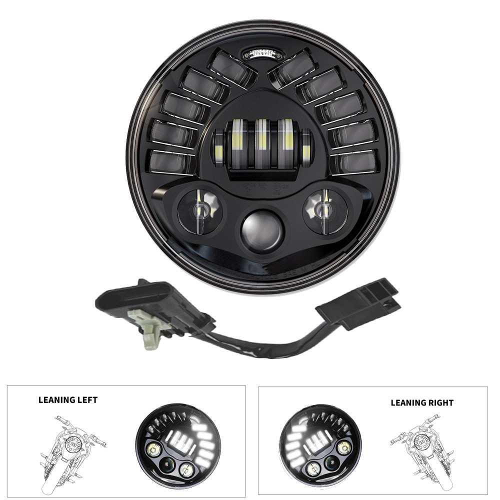 DOT Approved 7 Inch LED Round Adaptive Motorcycle Headlight With Hi/Lo Beam Projector Moto Round LED Headlamp For Harley