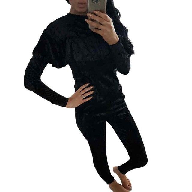 Женская Осень Зима Устанавливает Листьев Лотоса Воротник Случайные Новый Бархат спортивные костюмы С Длинным Рукавом Пуловер Топ И Брюки Повседневная Двух Частей набор