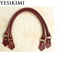 YESIKIMI Genuine Leather Bag Handles 55 1 5cm Short Strap DIY Bag Belt Replacement Bag Accessories