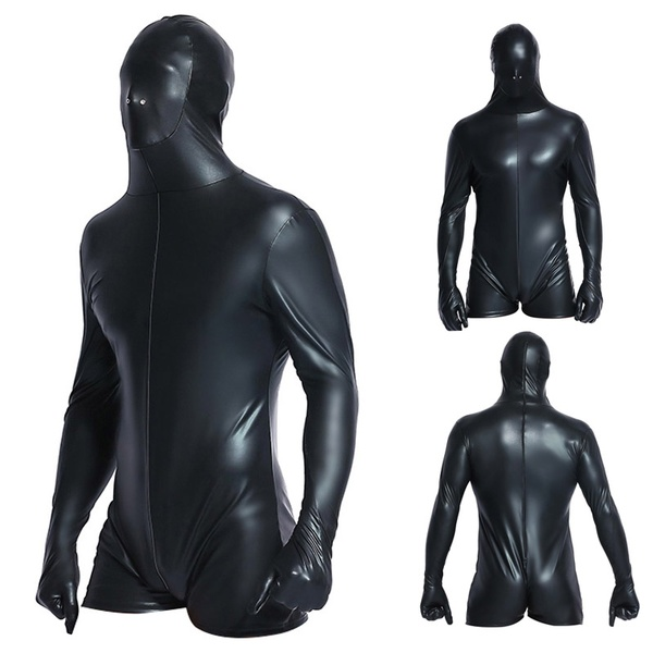 Buy Super Cool Sexy Men Black Patent Leather Jumpsuit Vinyl Latex Bondage Catsuit Wetlook Leotard Bodysuit Bodysuit Men 6736
