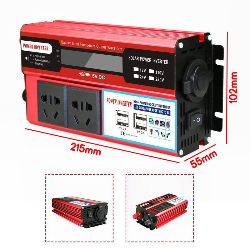 KROAK 4000W 4 USB onduleur DC 12/24V à AC 220 V adaptateur de voiture convertisseur de Charge écran LCD transformateur à onde sinusoïdale modifiée - 3