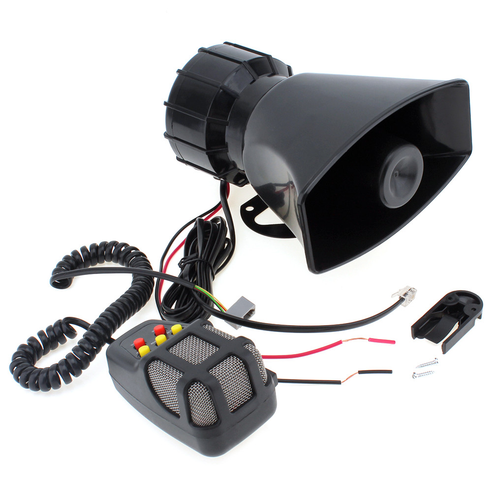 Super Loud 100W 12V 5 Sounds Motorcycle Car Van Truck Speaker Loud Siren Horn 105db With MIC