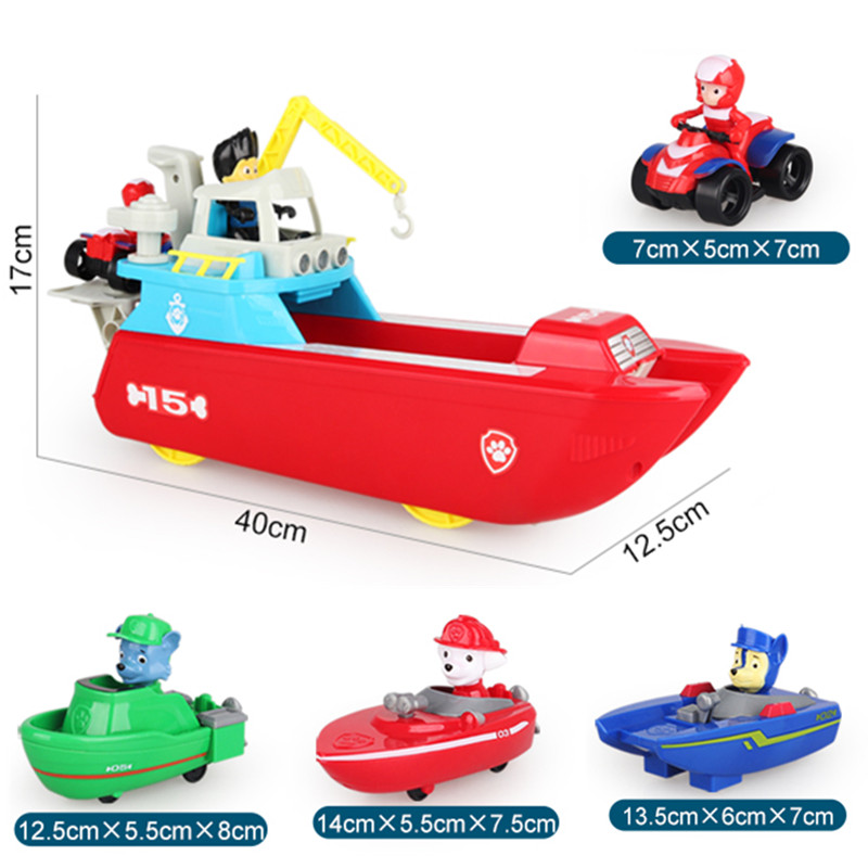 New Paw Patrol Dog Yacht Toys Marine Rescue Boat Action Figure Patrulla Canina Model Toys for