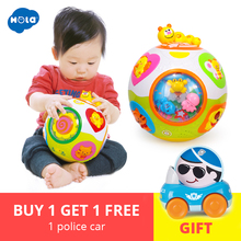 Купить с кэшбэком HOLA 938 Baby Toys Toddler Crawl Toy with Music & Light Teach Shape/Number/Animal Kids Early Learning Educational Toy Gift