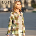 Veri Gude Women Spring Summer  Office Blouse Slim Fit All-match Pure Cotton Plaid Shirt Turn-Down Collar  Free Shipping  3 color