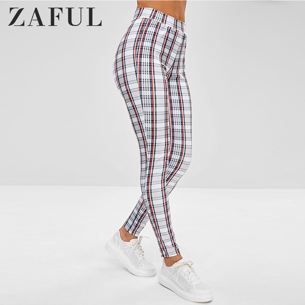 ZAFUL Plaid Ponte Pants Full Length High Waist Pencil Pants Elastic Waist Streetwear Women 2019 Fall Sexy Bottom