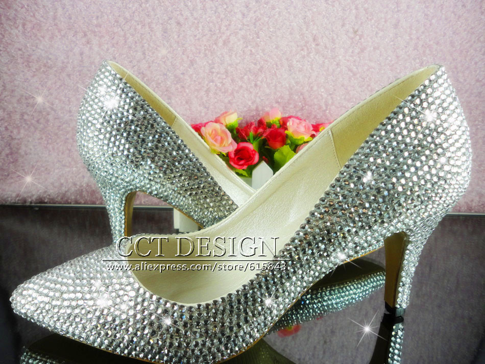 Wedding Heels With Rhinestones: Handmade Customized Silver Rhinestone Pointed Toe Wedding