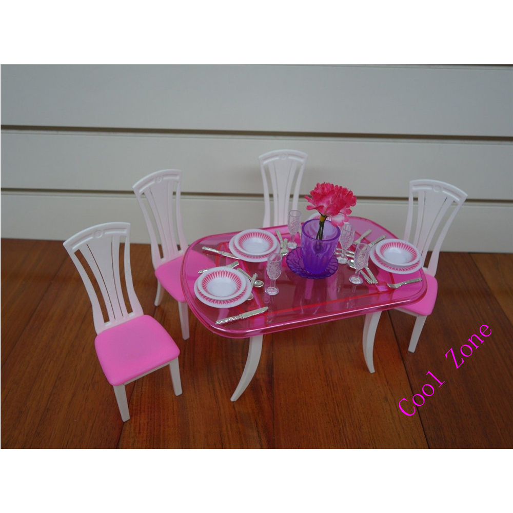 Miniatyr möbler Matsal-C för Barbie Doll House Pretend leksaker - Dockor och tillbehör - Foto 3
