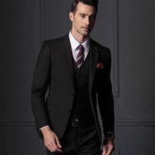 Популярный черный мужской костюм смокинг бизнесмен жених свадебная вечеринка выпускные костюмы на заказ