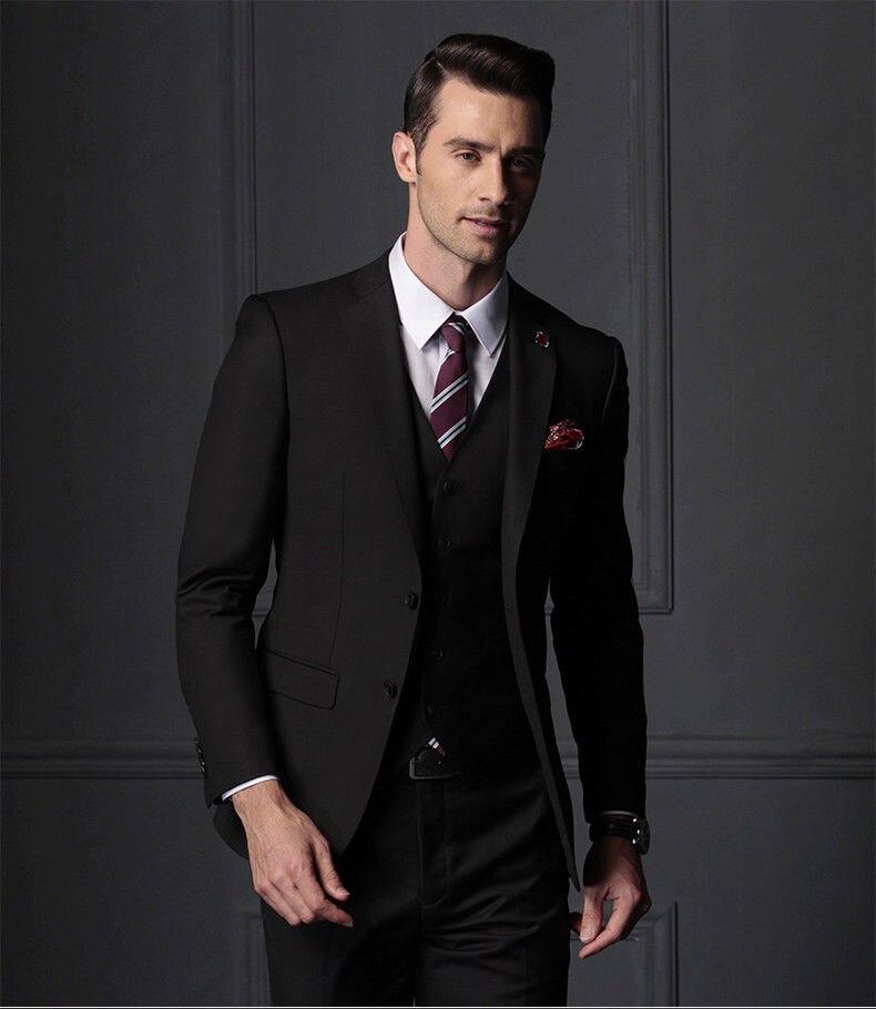 Costume noir populaire hommes smoking homme d'affaires marié fête de mariage costumes de bal personnalisé