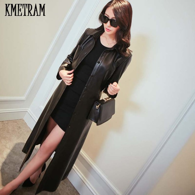 714ecc6895d KMETRAM 2018 Spring Autumn Vintage PU Long Leather Coat Black Leather  Jacket Women 5xl Plus Size Jaqueta Couro Feminina YJZ183