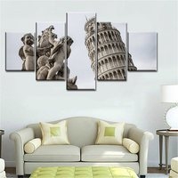 The Leaning Tower Of Pisa 5 Pieces High Quality Picture Print Vintage Home Decoration For Living