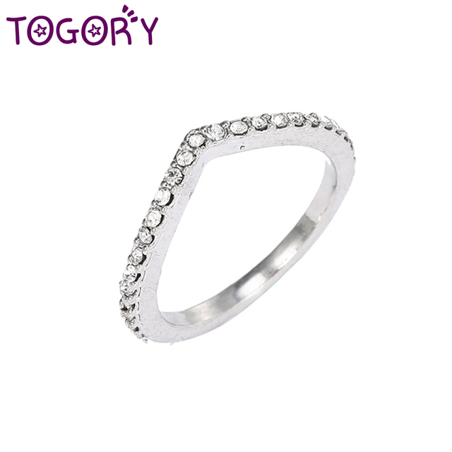 f96c953f6 TOGORY Entwined Authentic Silver Clear Zircon Original Fine Ring Compatible  with Jewelry For women Wedding ring