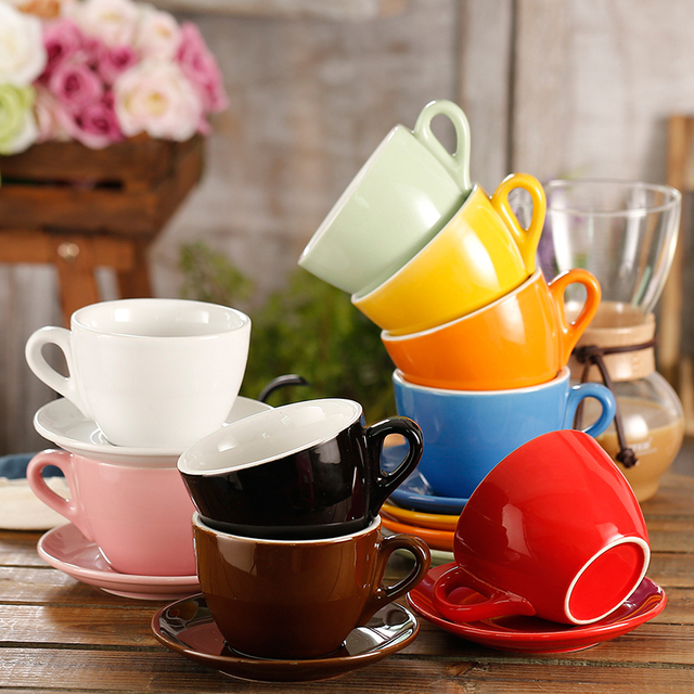 280ml Multi Color Thick Body Ceramic Coffee Set For Garland Latte Mug