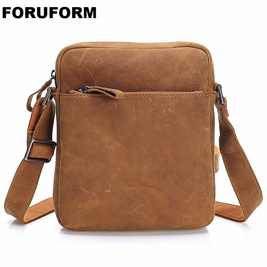 HOT!! 2018 Genuine Leather Bags Men High Quality Messenger Bags Male Small Travel Brown Crossbody Shoulder Bag For Men LI-1996 hot 2017 genuine leather bags men high quality messenger bags small travel black crossbody shoulder bag for men li 1611