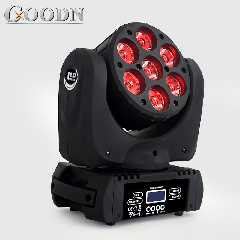 Lyre Beam 7X12W RGBW 4in1 LED Beam DMX Stage Moving Head Lights For Dj