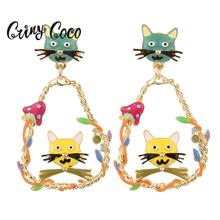 Cute Cat Earrings Water Drop Golden Plated Alloy Mushroom Jewelry Fashion Trend Dangling Long Statement Dangle Earring for Women
