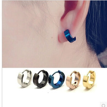 HIgh Quality Free Shipping Wholesale Chic Cool Punk Men's Stainless Steel Hoop Piercing Round Earring Ear Stud 5 color