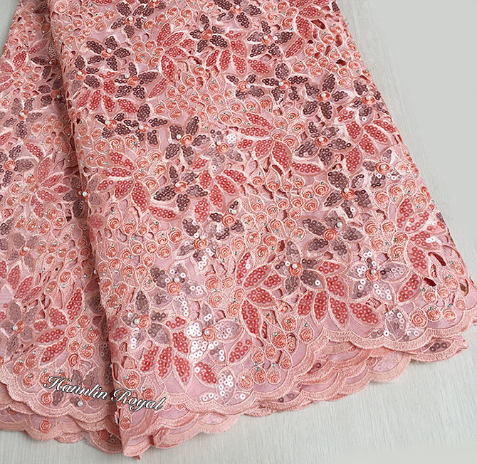 أعلى درجة فريد الوردي هاندكوت الأورجانزا الدانتيل الدانتيل السويسري الأفريقي نسيج مع الكثير من الخرز الترتر الأحجار 5 ساحات-في دانتيل من المنزل والحديقة على  مجموعة 2