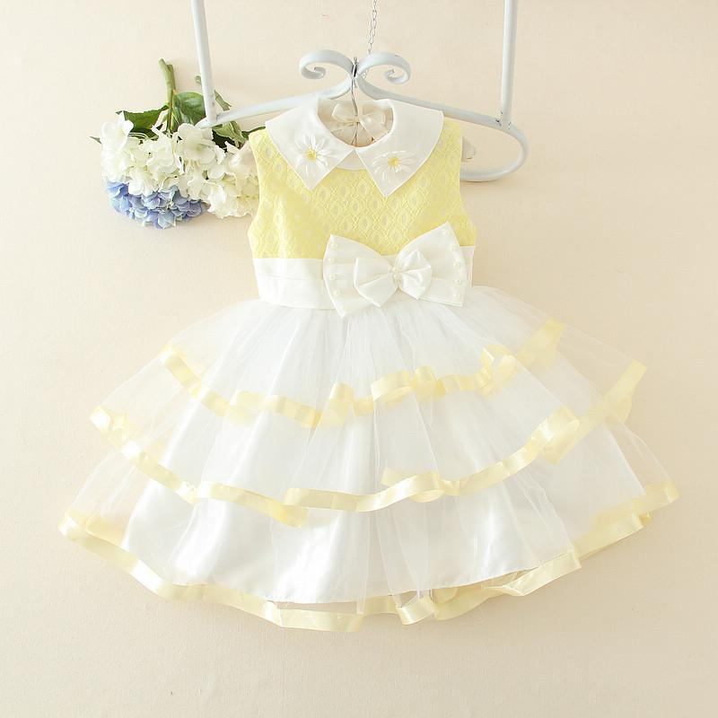 Yellow And White Bow Girl Dress For Birthday Summer Design Formal Kid Clothes 3 4 5 6 7 8 9 10 11 12 Years Old SKF154010 In Dresses From Mother Kids