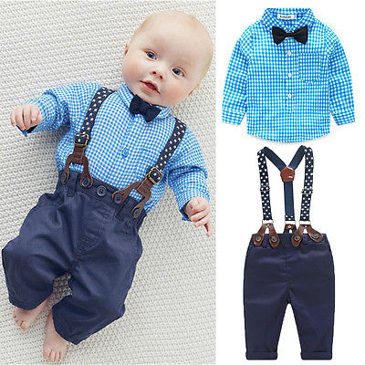 2018 Infant Newborn Toddler Baby Boy Bow Tie Plaid Blue Shirt Suspender Pants Trousers Gentle Outfits 2pcs Set
