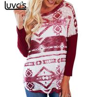 LUVCLS Long Sleeve Autumn T Shirt Women O-neck Shirt Ethnic Floral Printed Women Tops Female T-shirt Fashion Tops