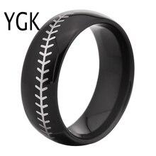 YGK бренд 8 мм черный купол с белым Бейсбол стежка комфорт Мужская Мода Вольфрам обручальное кольцо
