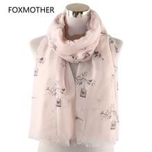 FOXMOTHER New Fashion White Pink Color Bird on Branch Birdcage Foulard Femme Scarves Birds Moda Mujer 2019