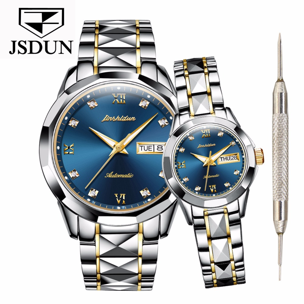JSDUN Couple watches for lovers men women Luxury brand Waterproof Tungsten stainless steel Mens watch relogio bayan kol saatiJSDUN Couple watches for lovers men women Luxury brand Waterproof Tungsten stainless steel Mens watch relogio bayan kol saati